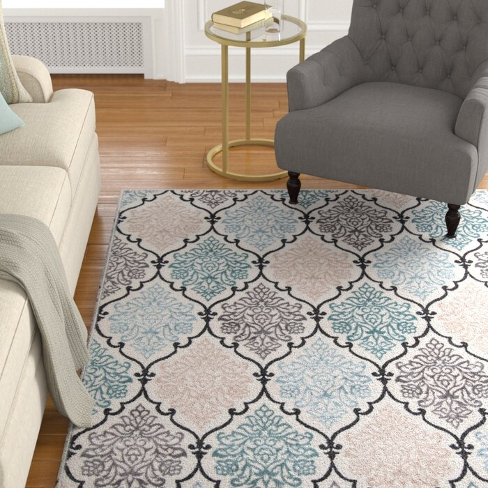 Kinsley Teal Black Beige Area Rug