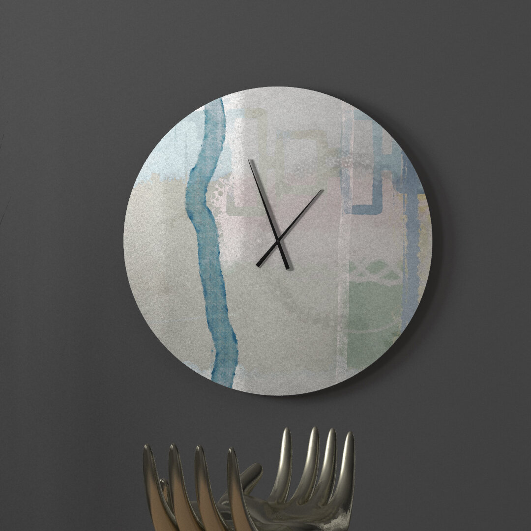 Ebern Designs Ideal Up To Date Abstract Metal Wall Clock Wayfair