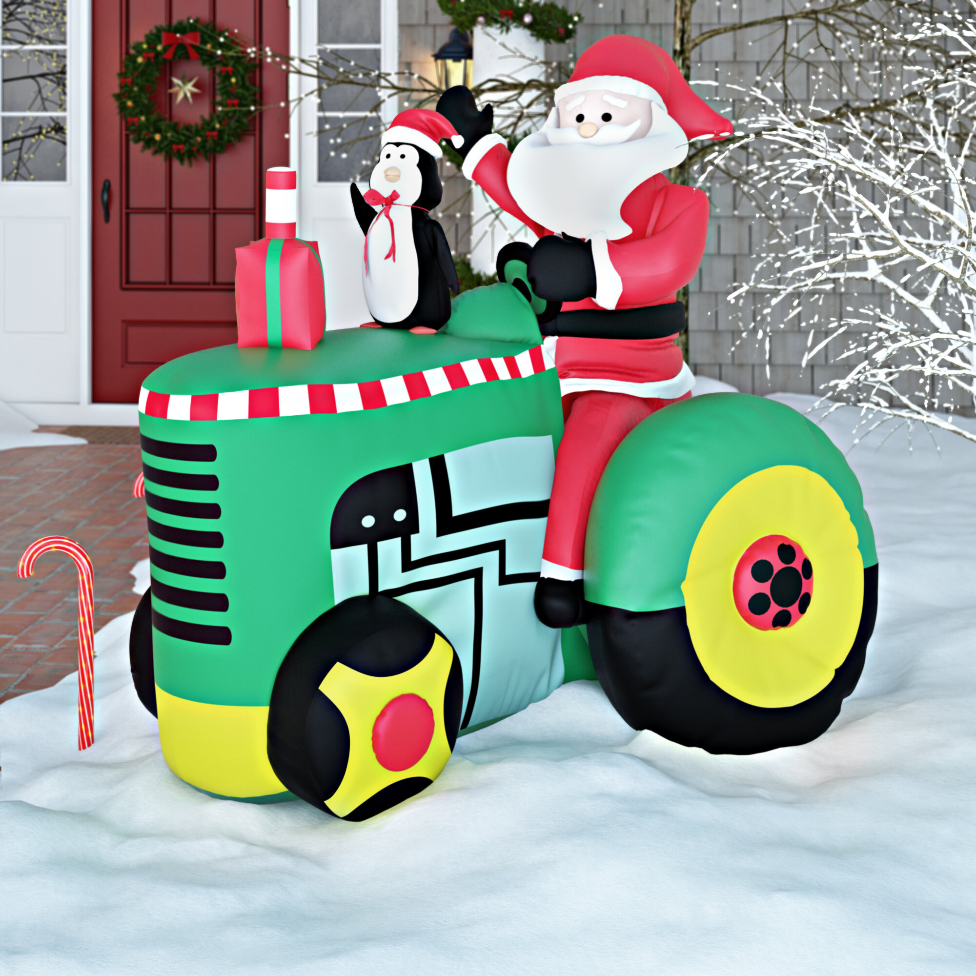 The Holiday Aisle Santa On Tractor Christmas Decoration Inflatable Reviews Wayfair