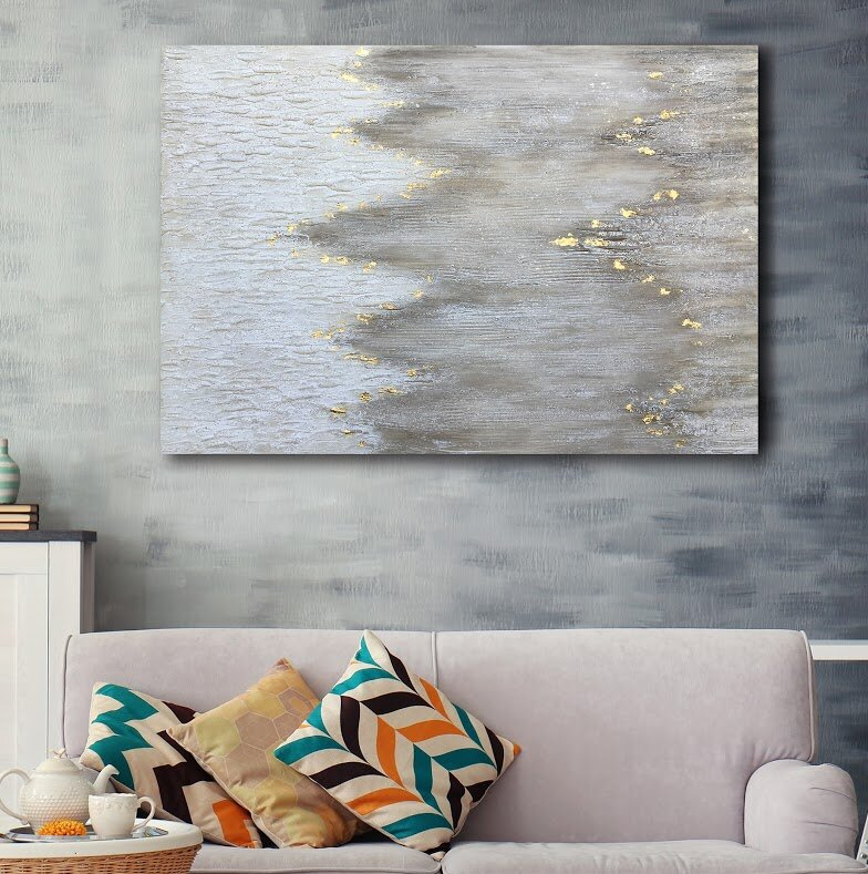 Gleaming gold oil painting print on wrapped canvas
