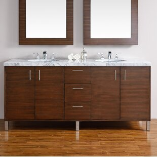 Cordie 72 Double American Walnut Hardwood Base Bathroom Vanity Set by Orren Ellis