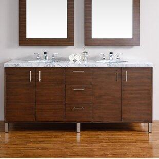 Cordie Modern 72 Double American Walnut Hardwood Base Bathroom Vanity Set by Orren Ellis
