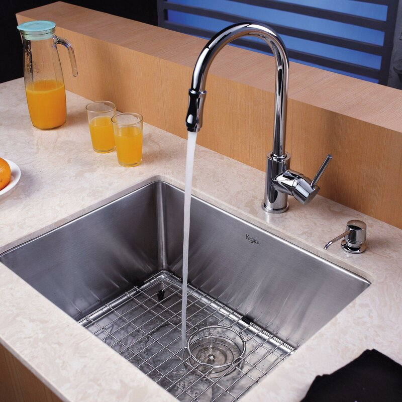 Kraus 23 x 18 Undermount Kitchen Sink with Faucet and Soap