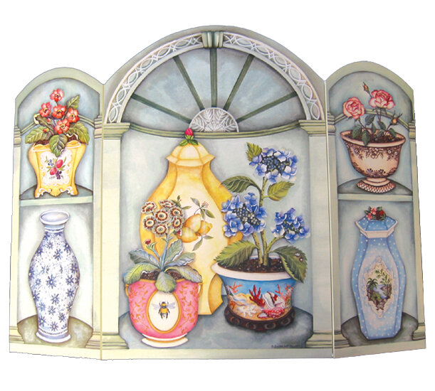 Stupell Industries Flower Pots And Vases 3 Panel Fireplace Screen