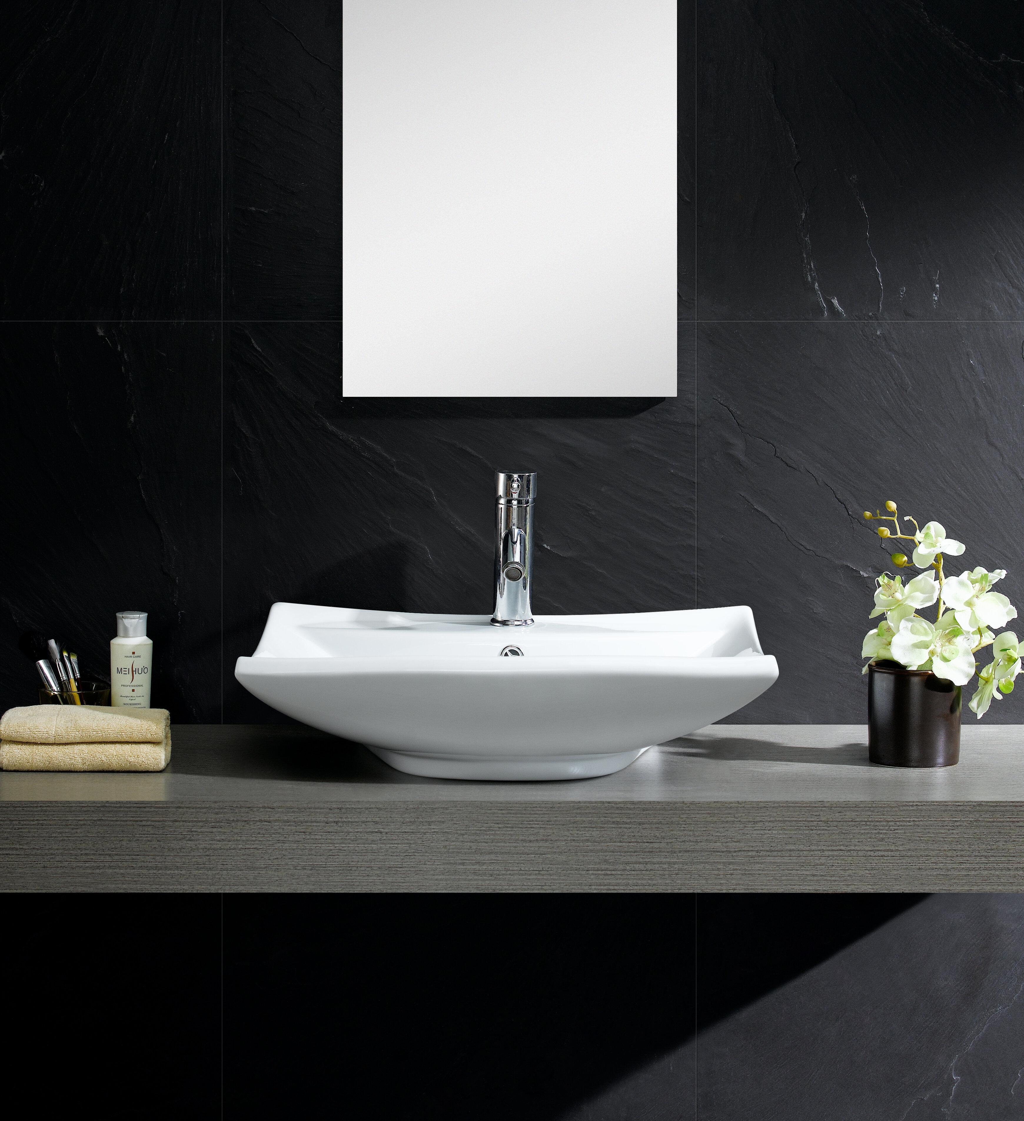 Fine Fixtures Modern Ceramic Rectangular Vessel Bathroom Sink with ...
