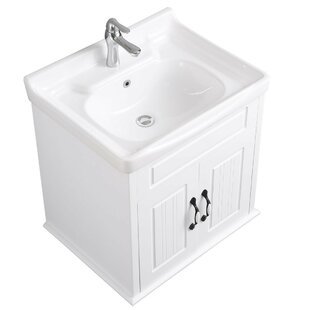Vitreous China/Wood Square Drop-In Bathroom Sink with Faucet and Overflow by The Renovators Supply Inc.
