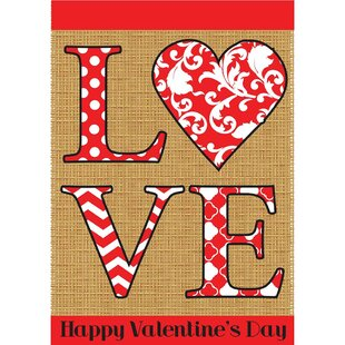 LOVE Valentines 2 Sided Garden Flag