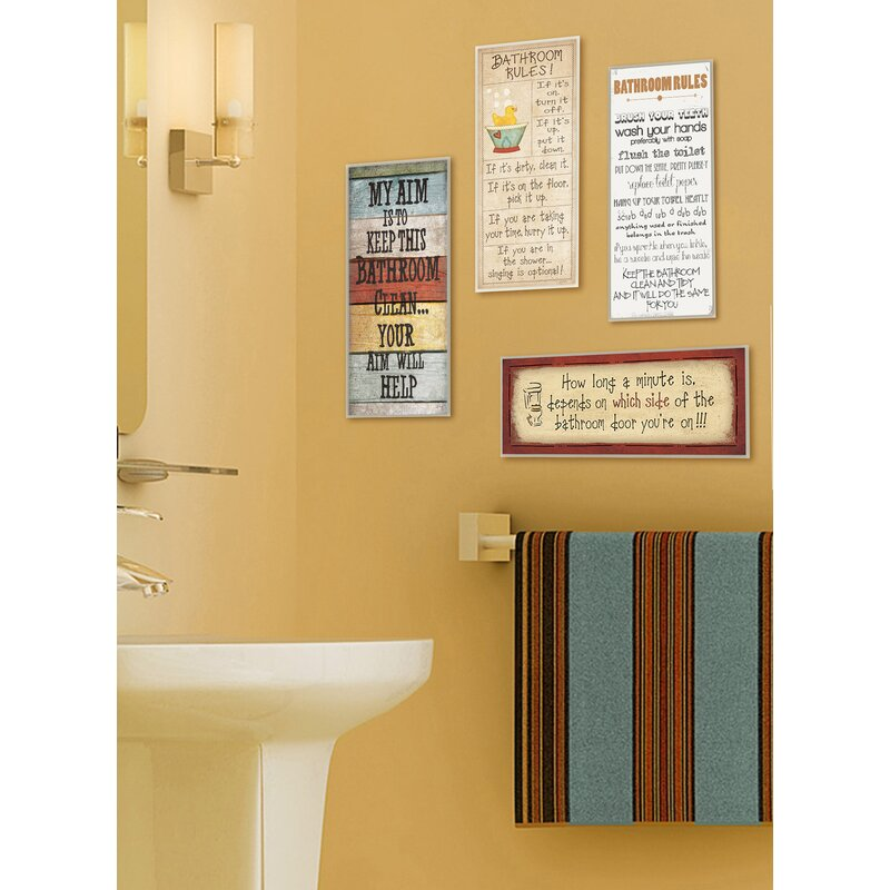 August Grove My Aim is to Keep This Bathroom Clean Textual Art ...