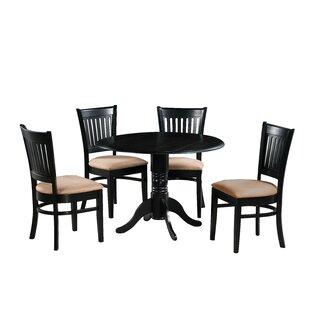Zebulon 5 Piece Drop Leaf Solid Wood Dining Set