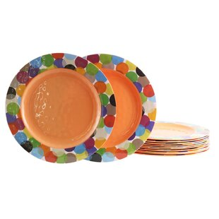 Kinsley Party Circles Melamine Dinner Plate (Set of 12)