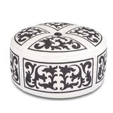 Ottoman Round Barroque,  Ivory/ Chocolate by Pennisula Home Collection Co.