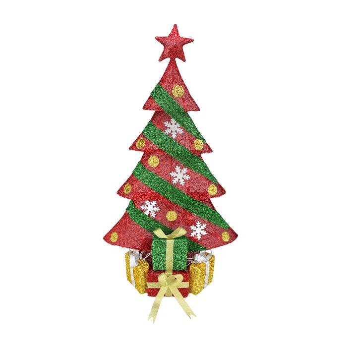 Christmas Tree Tinsel.Tinsel Decorated Christmas Tree With Gifts Christmas Decoration