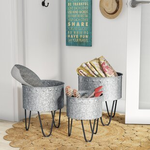 Compare prices 3 Piece Galvanized Metal Bucket Set By Laurel Foundry Modern Farmhouse