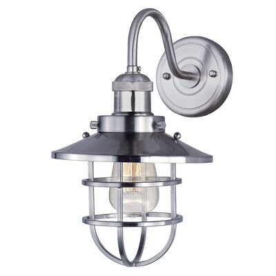 17 Stories Archie 1 Light Armed Sconce Bulb Type Included Finish Satin Nickel