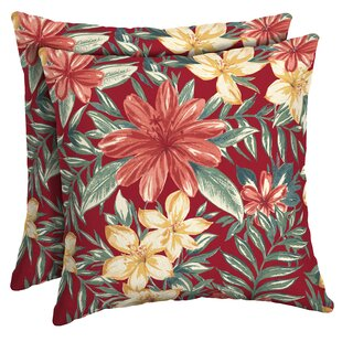 Kitterman Tropical Outdoor Throw Pillow (Set of 2)