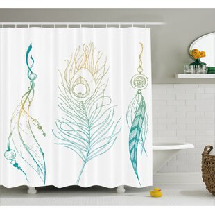 Reviews Feather and Peacock Tail Decor Shower Curtain ByEast Urban Home