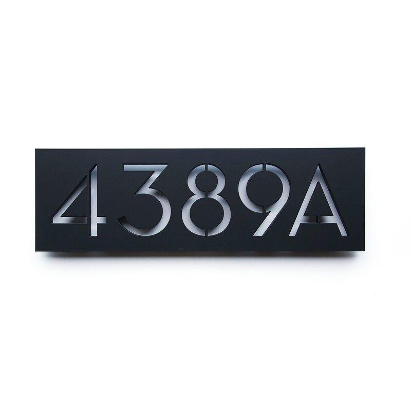 Satin White Modbox Usa Modern Address Plaque Numbers Patio Lawn Garden Kolenik Outdoor Décor