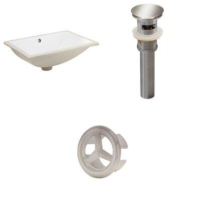 Ceramic Rectangular Undermount Bathroom Sink With Overflow American Imaginations Drain Finish Brushed Nickel