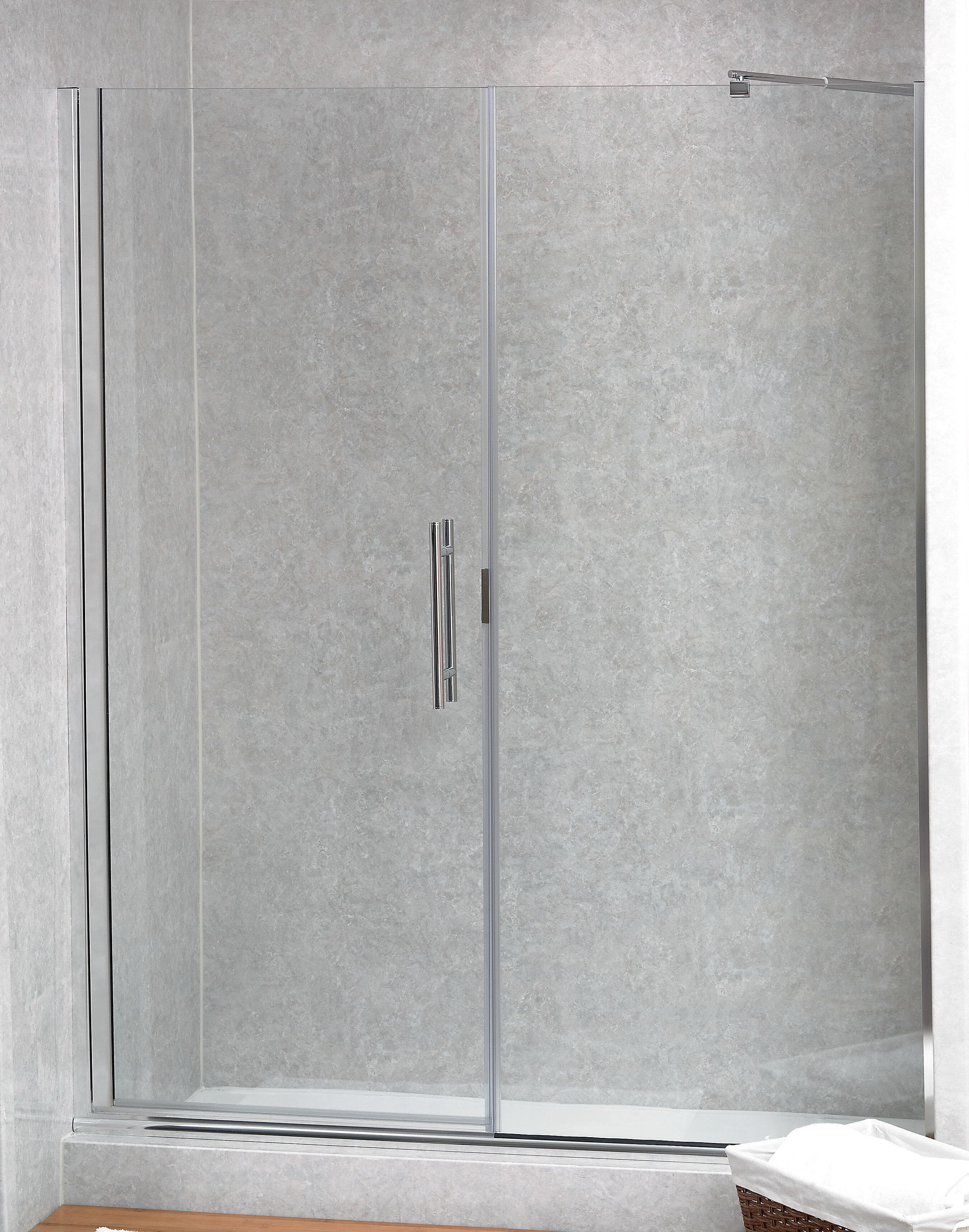 Paragon Illusion Series 61 25 X 70 Hinged Frameless Shower Door With Inline Panel