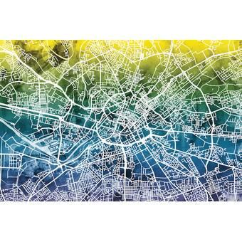 East Urban Home Urban Rainbow Street Map Series Manchester England United Kingdom Graphic Art On Wrapped Canvas Wayfair