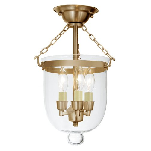 Sarahi 3-Light Small Bell Jar Semi Flush Mount