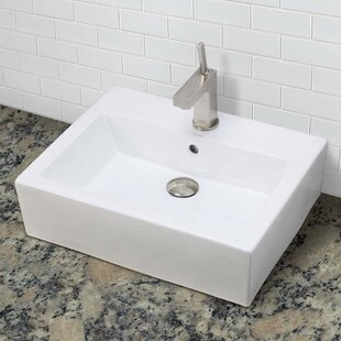 Find for Bluebell Classically Redefined Ceramic Rectangular Vessel Bathroom Sink with Overflow By DECOLAV