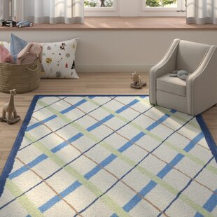 Affordable Claro Plaid Ivory / Blue Rug By Harriet Bee