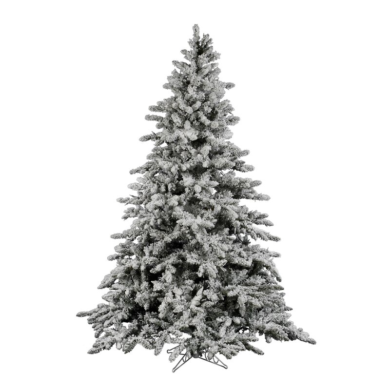 flocked utica 9 green fir artificial christmas tree with unlit with stand