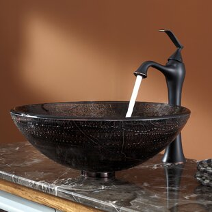 Find Ventus Glass Circular Vessel Bathroom Sink with Faucet By Kraus