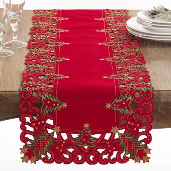 The Holiday Aisle Kaleem 100 Cotton Christmas Table Runner Wayfair