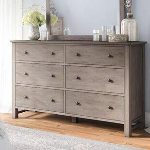 Burgundy 6 Drawer Dresser With Mirror by Lark Manor Cheap