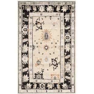 Top Reviews Morrison Hand-Knotted Beige/Charcoal Area Rug ByLoon Peak