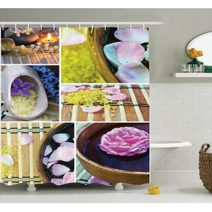 Floral Spa Home Theme Candles Single Shower Curtain