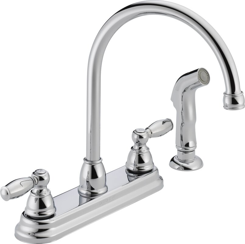 Peerless Faucets Double Handle Kitchen Faucet with Side Spray ...