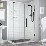 Bromley GS Frameless 52.25 x 72 Rectangle Hinged Shower Enclosure with Glass Shelves by Aston