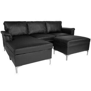 Strunk Upholstered Plush Pillow Back Sectional With Left Side Facing Chaise And Ottoman Set In Black Leather