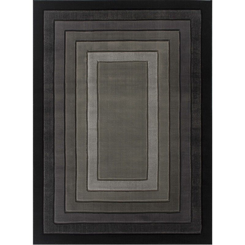 Williston Forge Penrith Power Loom Black Gray Rug Wayfair
