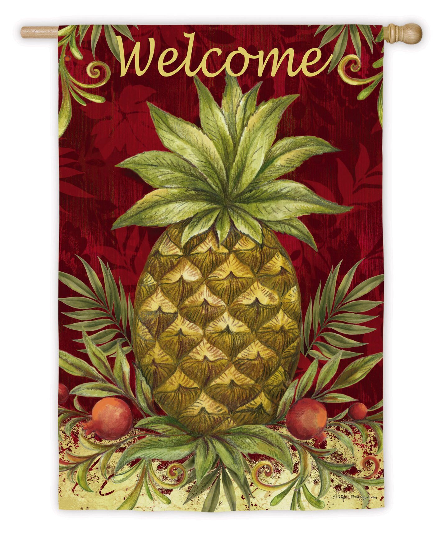 Evergreen Enterprises Inc Welcome Pineapple Garden Flag