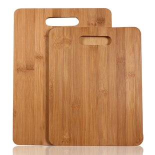 2 Piece 100% Natural Bamboo Chopping Board Set by Adeco Trading