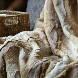 Charline European Wolf Faux Fur Throw Blanket