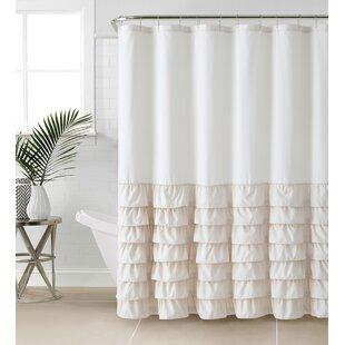 Linen Ruffle Shower Curtain   Wayfair