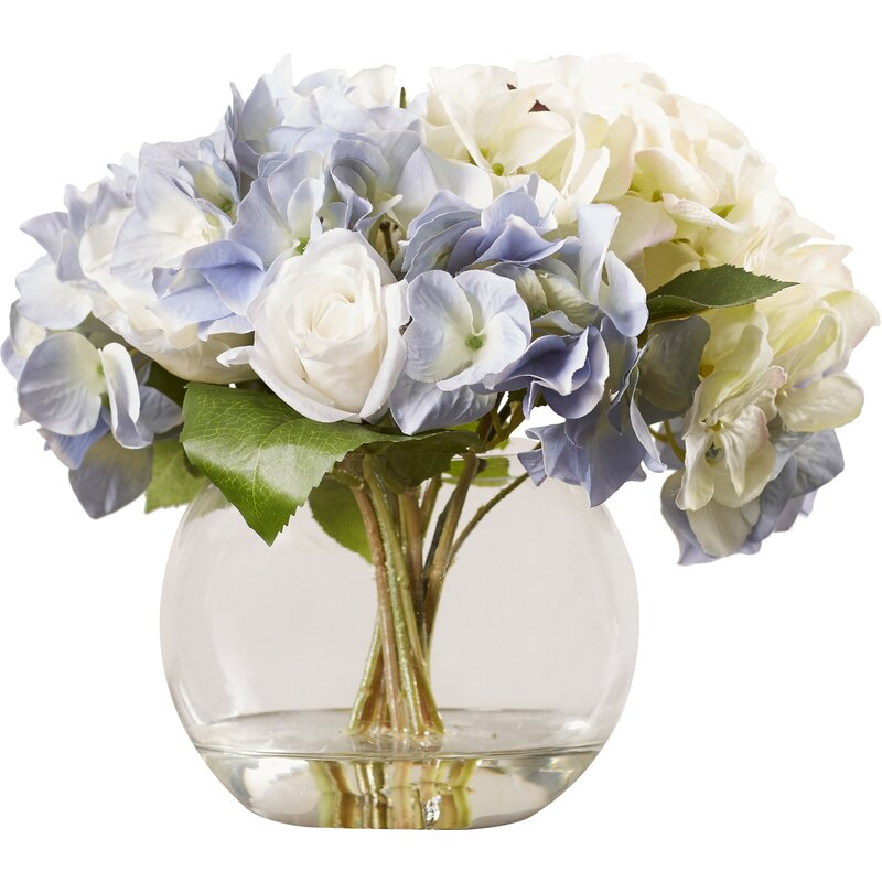 Lark Manor Millau Hydrangea and Rose Bouquet in Water & Reviews ...