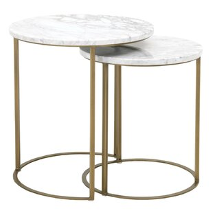 Gurdon Marble Top Round 2 Piece Nesting Tables (Set of 2)