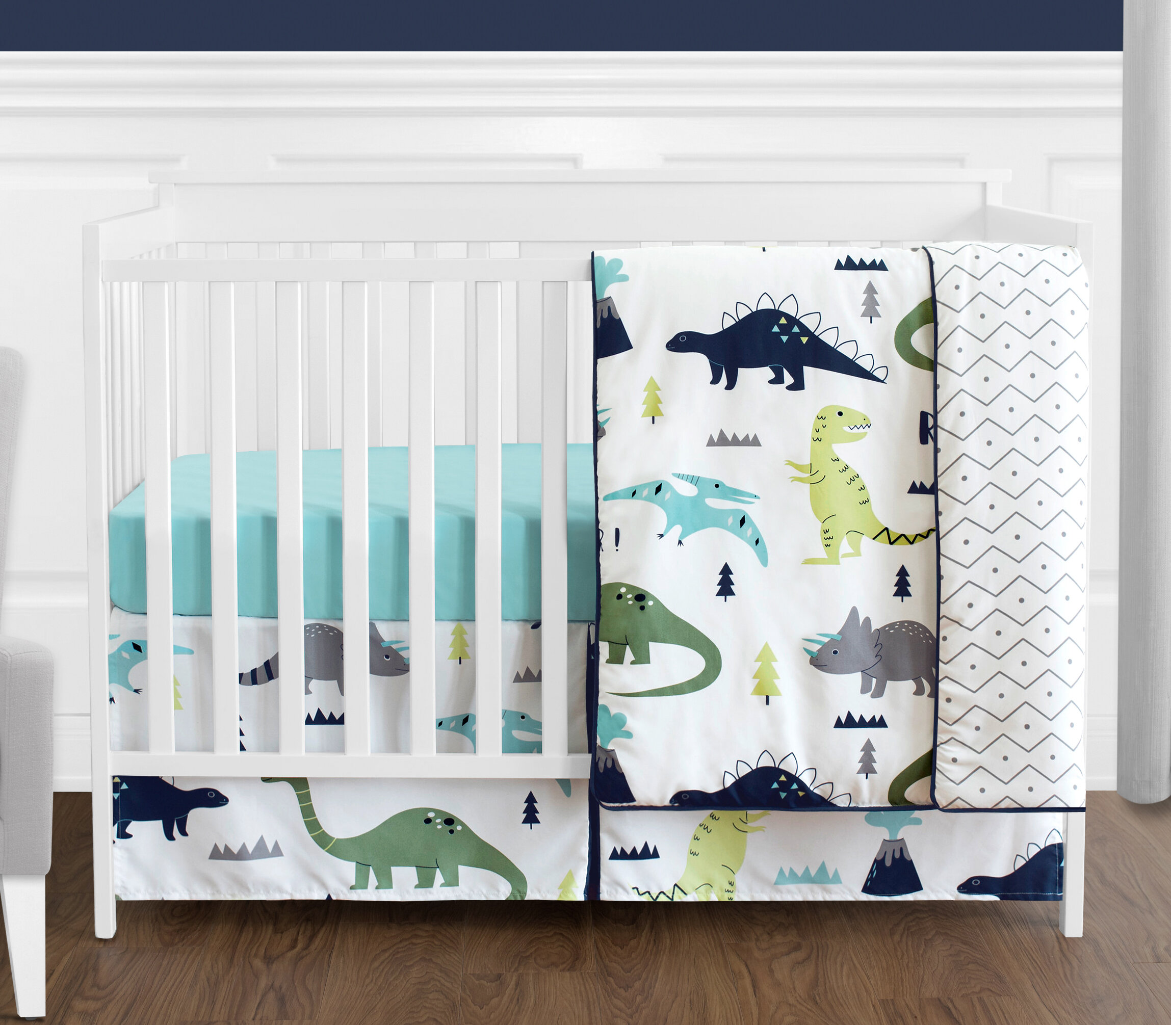 Mod Dinosaur 4 Piece Crib Bedding Set