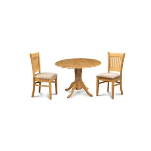 Miriam 3 Piece Drop Leaf Solid Wood Dining Set Breakwater Bay