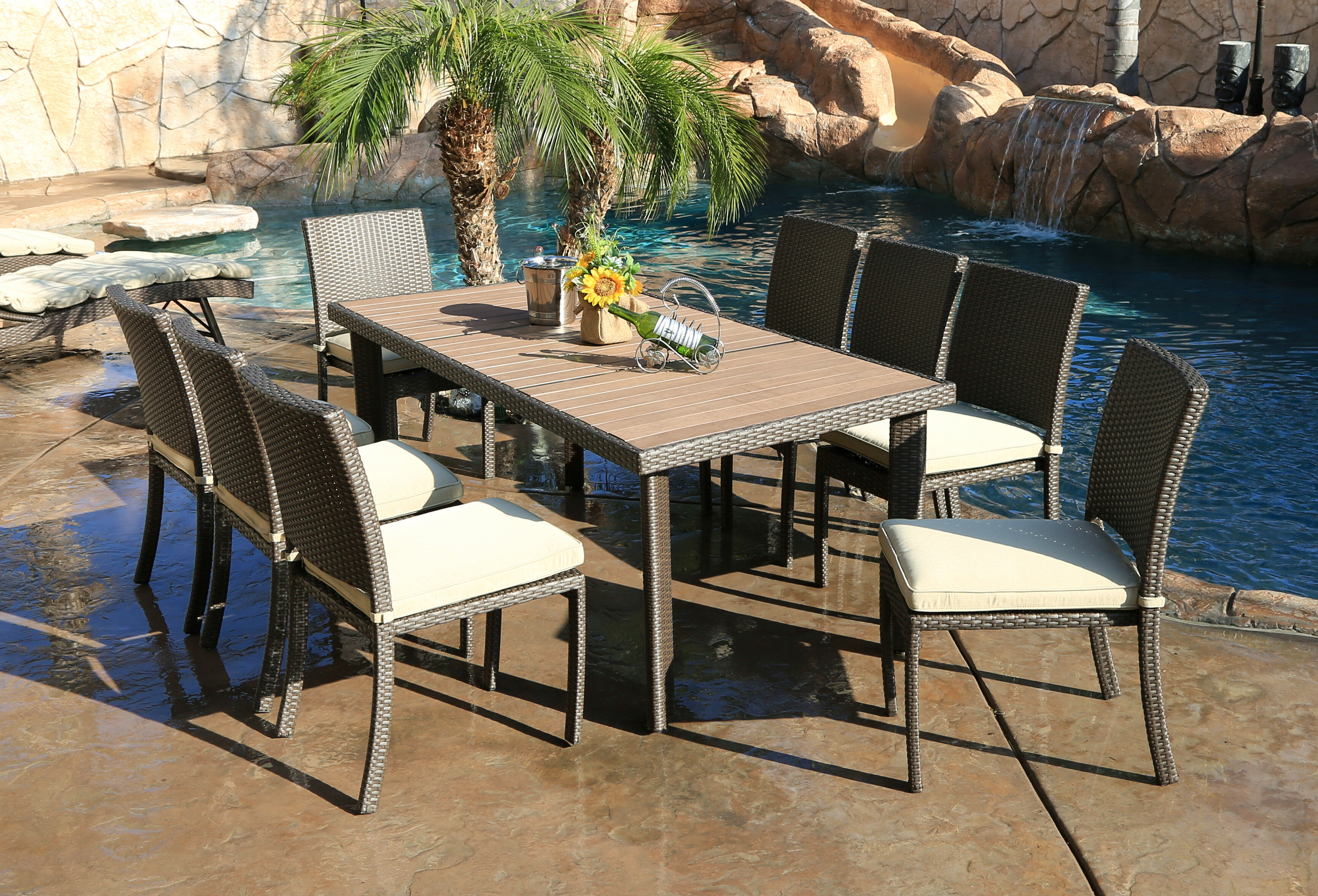Latitude Run Heffington 9 Piece Dining Set With Cushion Wayfair