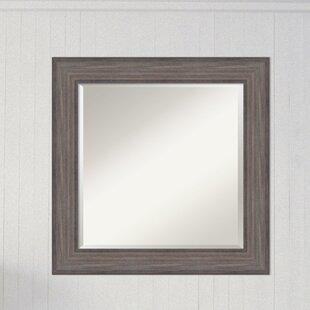 Gracie Oaks Bridges Square Barnwood Rustic Gray Accent Wall Mirror