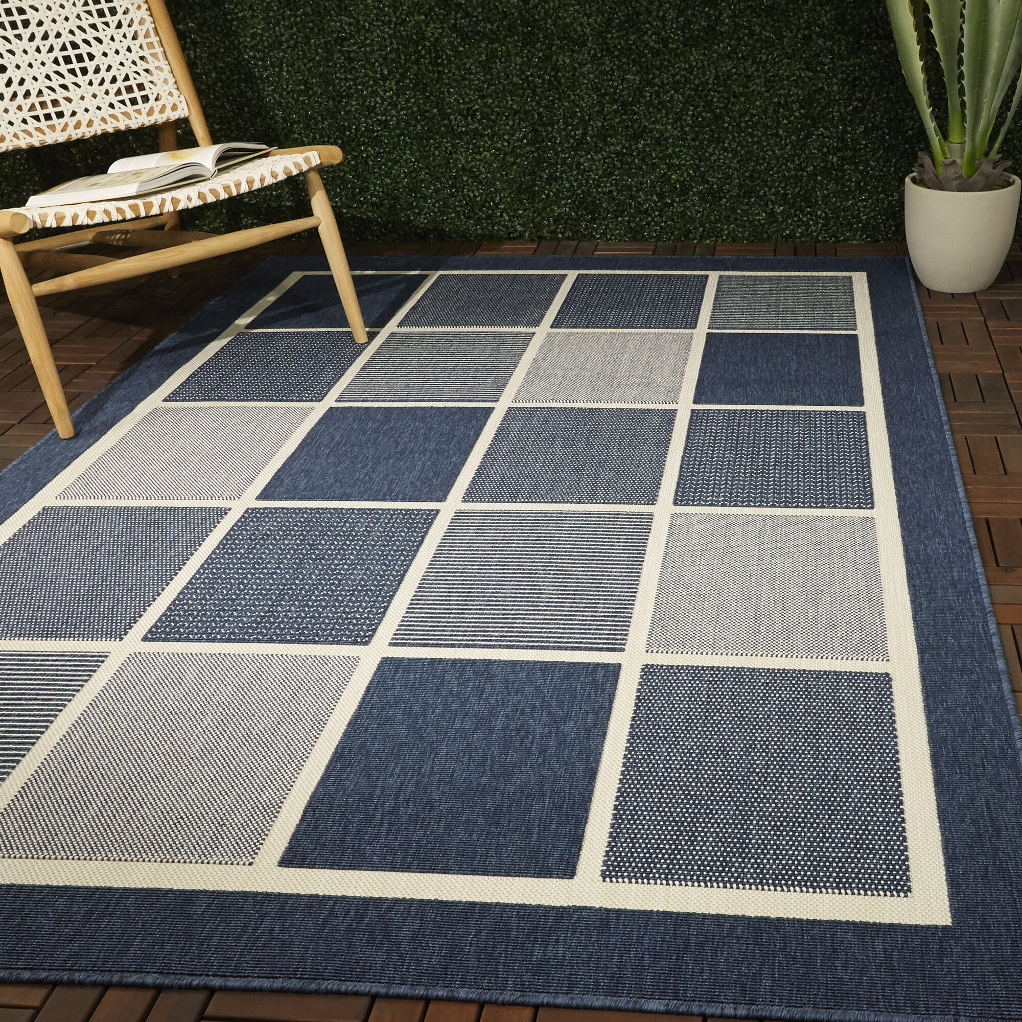 Orren Ellis Augeron Power Loom Navy Blue Ivory Indoor Outdoor Use Rug Wayfair