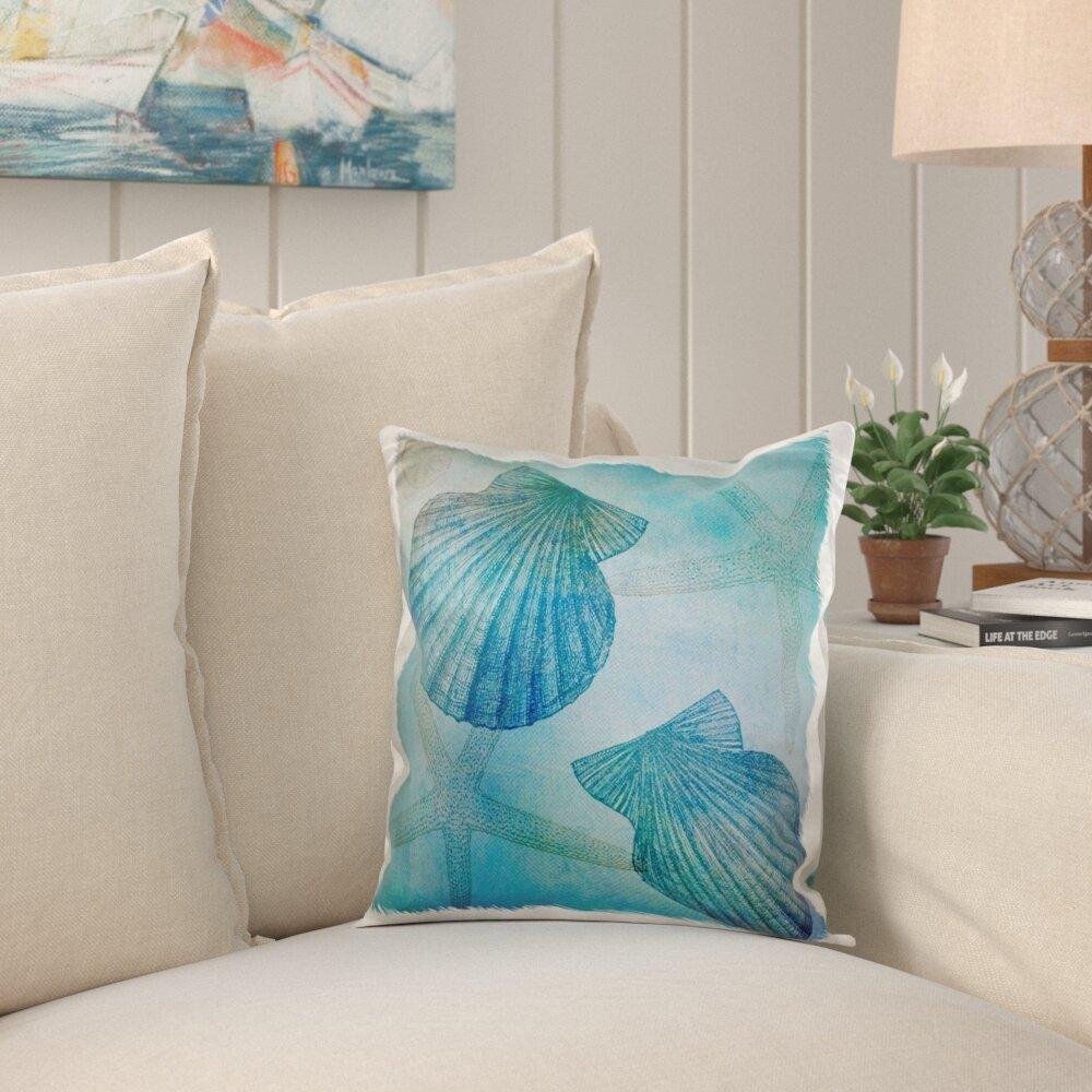 Highland Dunes Koenig Shells And Starfish Beach Themed Art Pillow Cover Reviews Wayfair