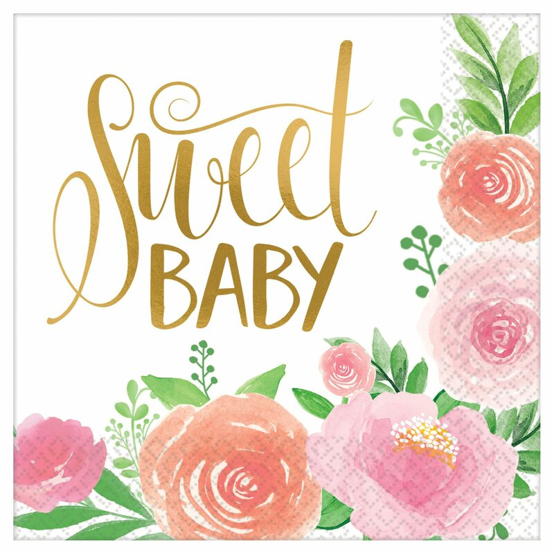 Amscan Floral Baby Shower Lunch 6 5 Paper Disposable Napkins Reviews Wayfair